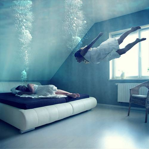 sleeping underwater