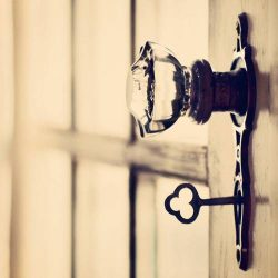 key and glass doorknob