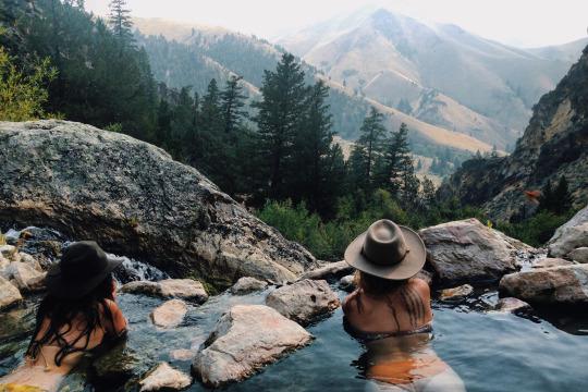 hot springs overlooking mountain