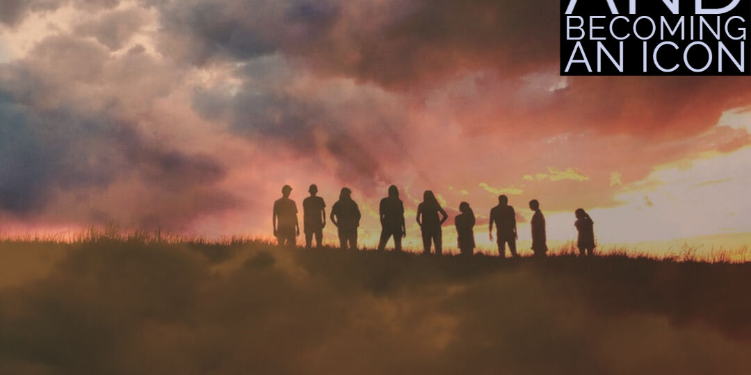 group of people on a hill with hazy light