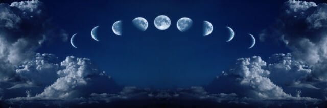 Nine phases of the full growth cycle of the moon